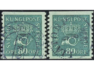 Sweden. Facit 165cxz, cz used , 80 öre blue-green with watermark lines + KPV and  …