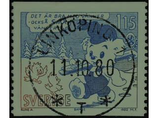 Sweden. Facit 1141 used , 1980 Comics 1.15 Kr blue/brown. EXCELLENT cancellation …