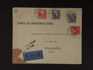 Sweden. Air mail cover Facit 279, 286, 338A , 20+2x30+60 öre on censored air mail cover …