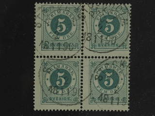 Sweden. Facit 43 used , 5 öre in block of four cancelled STOCKHOLM C 2.11.1890. SEK1750