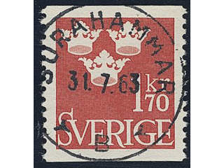 Sweden. Facit 304 used , 1951 Three Crowns 1.70 Kr red. EXCELLENT cancellation …