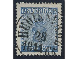 Sweden. Facit 9c2 used , 12 öre blue. EXCELLENT cancellation HUDIKSVALL 28.11.1865.