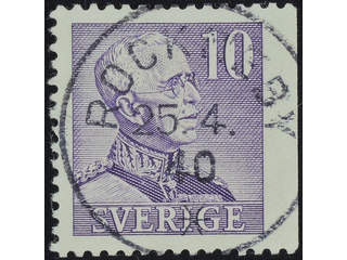 Sweden. Facit 273B used , 1939 Gustaf V large numerals 10 öre violet, perf at three …
