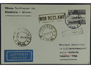 Sweden. Air mail cover Facit 357 , 90 öre on undeliverable air mail cover sent from …