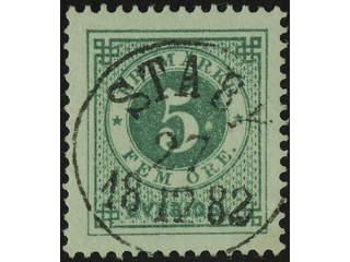 Sweden. Facit 30b used , 5 öre dull bluish green. EXCELLENT cancellation STABY 27.12.1882.