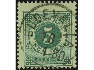 Sweden. Facit 30b used , 5 öre dull bluish green. EXCELLENT cancellation UDDEVALLA …