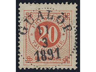 Sweden. Facit 46d used , 20 öre dark orange-red on yellowish paper. EXCELLENT …