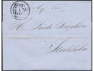 Sweden. Postage due mail. 12 ÖRE STOCKHOLM 1.11.1859, postage due cancellation type 3, …
