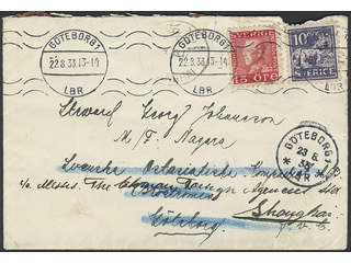 China Incoming mail. Michel 145C, 177C cover , 10+15 öre on local cover pre-paid with …