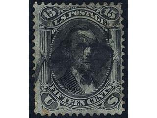 U.S.A. Michel 22W used , 1867 Presidents 15 c black with grill 9 × 13 mm. Good copy. …