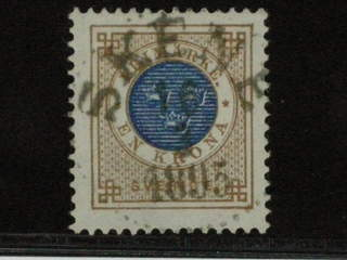 Sweden. Facit 49 used , 1 Krona blå/brun. LYX-stämplat SKENE 16.3.1895.