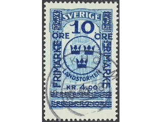 Sweden. Facit 125 used , 1916 Landstorm II 10+4,90 / 5 kr blue. Superb cancellation …