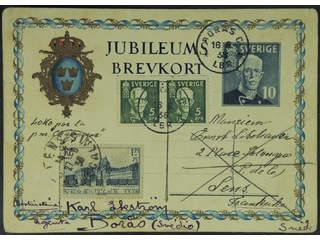 France. Michel 422 cover , 1.75 Fr + 75 c on reused Swedish postcard 10 öre (bKe38), …