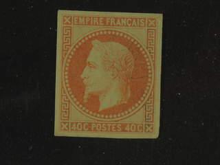 France. Michel 15 ★ , 1853 Emperor Napoleon III 40 c red-orange. Nice copy with full …