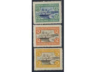 Denmark Danish West Indies. Facit 38–40 ★ , 1905 St. Thomas harbour SET (3). SEK1250