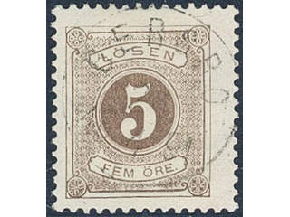 Sweden. Postage due Facit L13a used , 5 öre brown, perf 13. EXCELLENT cancellation …
