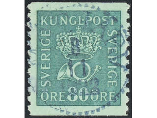 Sweden. Facit 165a used , 80 öre blue-green. EXCELLENT cancellation 8.11.1922. One …