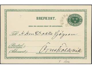 Sweden. Facit bKe7, Y county. EDSBORDET 14.3.1896. Postcard 5 öre sent to Örnsköldsvik. …