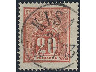 Sweden. Facit 16e used , 20 öre red. EXCELLENT cancellation KISA 31.1.1873.