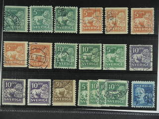 Sweden. Used 1920-34. St.Lions and GV, All different, e.g. F 140C+Ccx, 141bz, 142Abz,  …