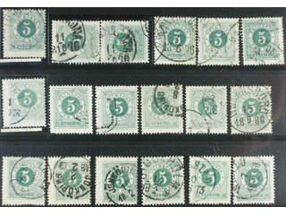 Sweden. Facit 19 used , 5 öre green, eighteen used copies. Shades, varieties, …