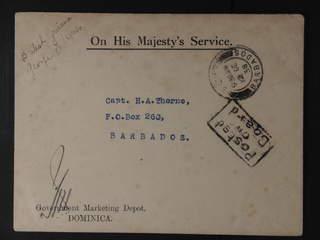 Dominica. O.H.M.S. Government envelope sent from Dominica to BARBADOS 12.DE.38. Pmk …
