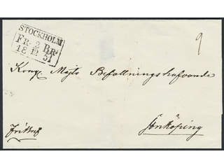 Sweden. A county. STOCKHOLM FR.BR. 2.12.1851, rectangular postmark type 1, second …