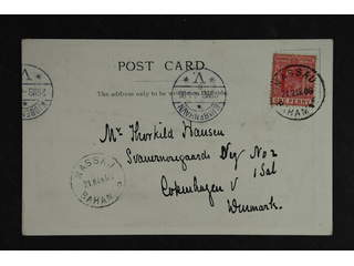 Bahamas. Michel 23 cover , 1902 King Edward VII 1 d red on post card NASSAU 21 MAR 06 …