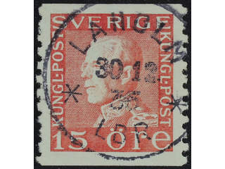 Sweden. Facit 177Ac2 used , 15 öre carminish  red, type II  vertical perf on white …