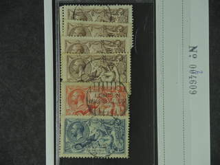 Britain. Michel 141–43 III used , 1918 Sea Horses by Wilkinson SET with four shades of …