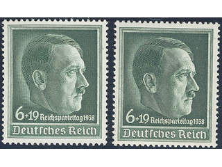 Germany Reich. Michel 672X ★★ , 1938 Party day 6+19 pf dark blue-green. Two copies with …
