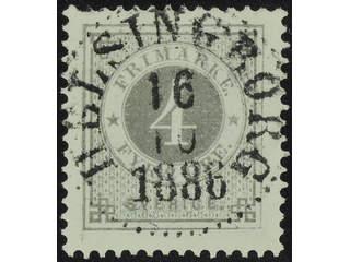 Sweden. Facit 42c used , 4 öre light grey. EXCELLENT cancellation HELSINGBORG 16.10.1886.