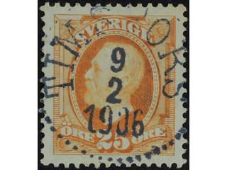 Sweden. Facit 57 used , 1896 Oscar II 25 öre orange. EXCELLENT cancellation TIMSFORS …