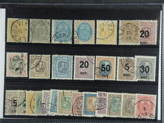 Iceland. Used 1876–1930. All different, e.g. F 8, 11, 15, 21, 27, 29, 50, 83, 97-98, …
