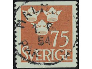 Sweden. Facit 289 used , 1952 Three Crowns 75 öre red-brown. EXCELLENT cancellation …
