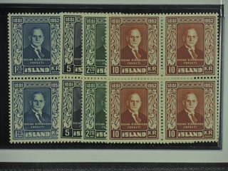 Iceland. Facit 315–18 ★★ , 1952 President Björnsson SET (4). Nice set in blocks of four. …