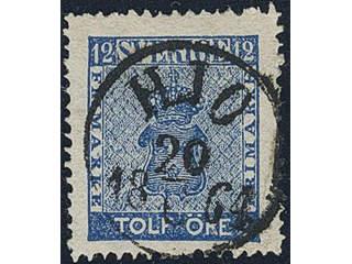 Sweden. Facit 9 used , 12 öre blue. EXCELLENT cancellation HJO 20.6.1864.