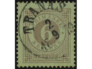 Sweden. Facit 31b used , 6 öre reddish lilac. Superb cancellations TRANÅS 2.9.1879.