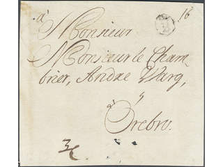 Sweden. A county. Bcancellation. B-cancellation type 4 on cover front dated by pen …