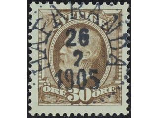 Sweden. Facit 58 used , 1891 Oscar II 30 öre brown. EXCELLENT cancellation HAPARANDA …