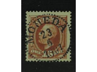 Sweden. Facit 55 used , 1896 Oscar II 15 öre brown. EXCELLENT cancellation MOHEDA …