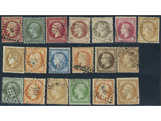 France. Used 1853-1870. All different, e.g. Mi 16, 18, 23, 25-26, 31, 33, 40. Mostly …