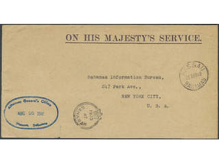 """Bahamas. OHMS envelope with Attorney Generals Office cachet to USA, showing fine """"Paid …"""