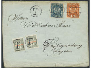 Austria. Michel 187, 189a cover , 6+12 h on insufficiently paid cover sent from WIEN …