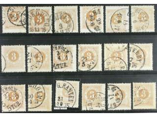 Sweden. Facit 17 used , 3 öre brown. 3 öre brown, eighteen used copies. Shades, …