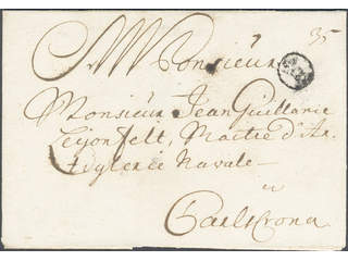 Sweden. A county. Bcancellation. B-cancellation type 6 on cover sent to Karlskrona. …