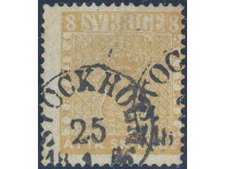 Sweden. Facit 4a used , 8 skill reddish orange. Cancelled STOCKHOLM 25.1.1856. Allegedly …