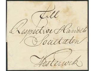 """Sweden. Prephilately. Letter dated """"Stockholm d.24aug 1750"""" sent to Westervik."""