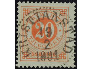 Sweden. Facit 46 used , 20 öre red. EXCELLENT cancellation KRISTIANSTAD 19.2.1891.