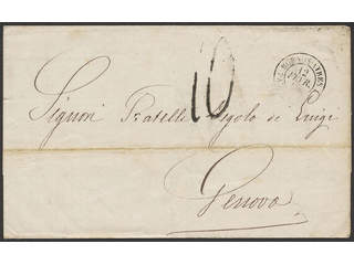 Argentina. Prephilately. Unpaid cover sent from BUENOS AYRES 12.FEVR.67 to GENOVA …